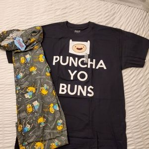 Adventure Time Adult T-Shirt XL, Adult PJ Pants L
